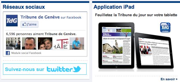 Encadrés des réseaux sociaux et de l'application tablette de la Tribune de Genève sur le site du quotidien